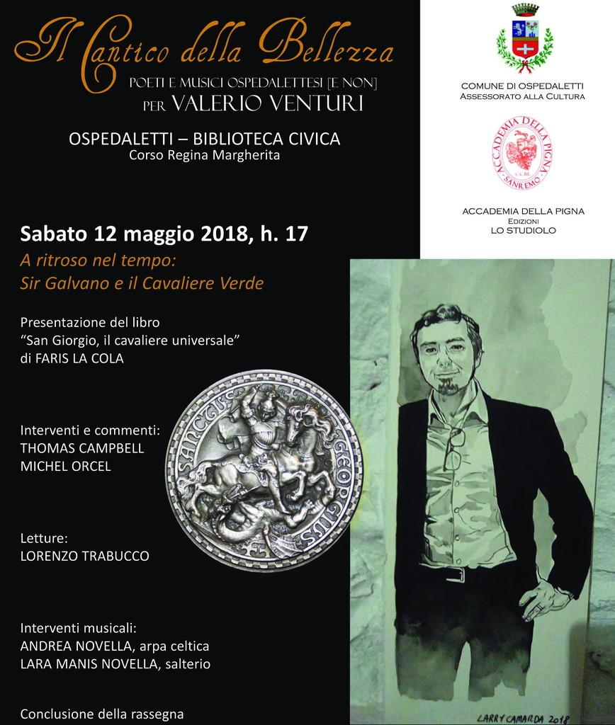 Conclusione del 'Cantico della Bellezza' per Valerio Venturi San Giorgio e i miti arturiani alla biblioteca di Ospedaletti