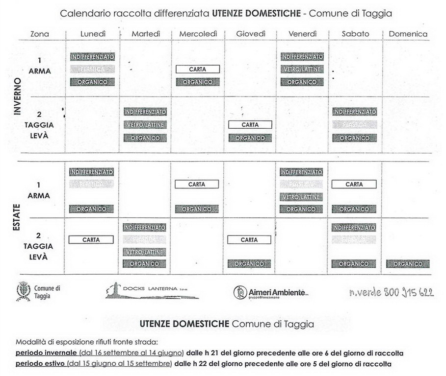 Calendario Raccolta Differenziata Sanremo.Taggia Raccolta Differenziata Porta A Porta L Orario E