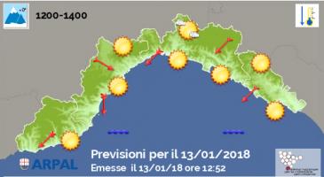 Le previsioni meteo di Arpal per il fine settimana sulla nostra regione