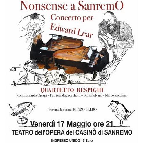 Il 17 maggio al Casinò, concerto per Edward Lear dal titolo 'Nonsense a Sanremo'