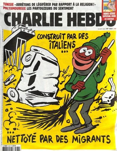 La copertina velenosa di Charlie Hebdo sulla strage del ponte di Genova