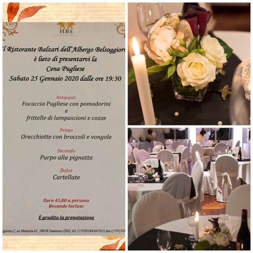 Serata gourmet all'hotel Belsoggiorno di Sanremo con protagonisti i piatti ed i vini della tradizione pugliese