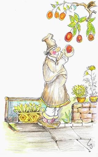 """disegno di Libereso Guglielmi tratto dal libro """"Ricette per ogni stagione"""" edizioni ZEM Vallecrosia"""