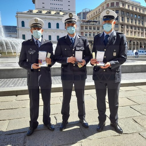Gli agenti matuziani Jacopo Marsiglia, Andrea Sartore e Antonio Di Bartolomeo