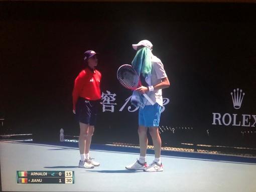 Il tennista sanremese Matteo Arnaldi impegnato agli Australian Open Juniores (foto tratta dal canale Eurosport Player)