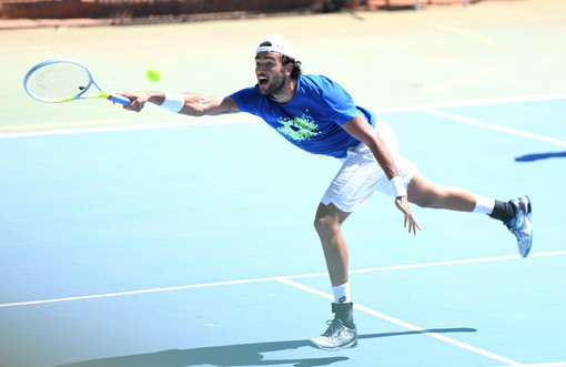 Allenamento al Tennis Sanremo per Matteo Berrettini: sabato sarà in campo a Nizza per l'Ultimate Showdown (Foto e Video)
