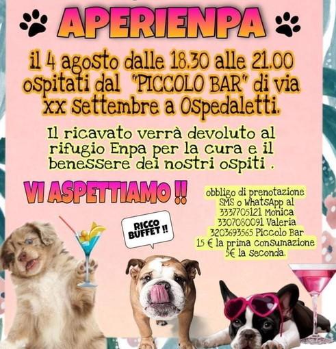 Ospedaletti: domani alle 18.30 al 'Piccolo Bar' c'è 'AperiEnpa', l'aperitivo per aiutare i cani e i gatti