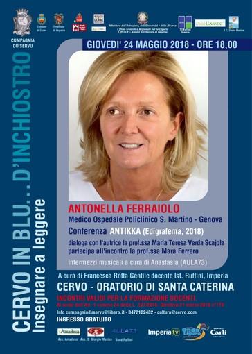 Cervo: Antonella Ferraiolo prossima ospite della rassegna 'In blu... d'inchiostro'