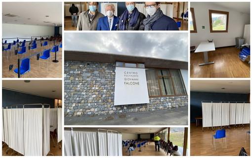 """Camporosso: inaugurato questa mattina il polo vaccinale a Bigauda, Falco """"Numeri alti sempre nel ventimigliese"""" (Foto e Video)"""