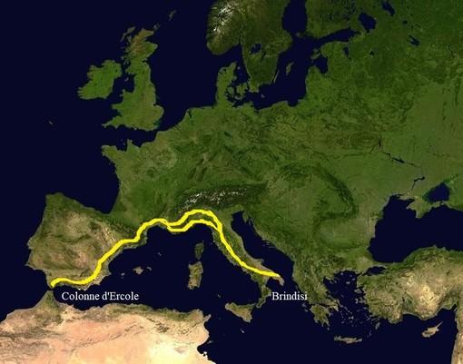 Mappa della Via Eraklea il più antico percorso  d'Occidente che prima della romanizzazione univa la penisola italiana con la Spagna dove si nota la variante che attraversava la Liguria e l'estremo Ponente Ligure