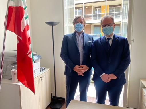 Simone Baggioli con il sottosegretario alla Difesa, Giorgio Mulè