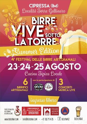 """Cipressa: il 23 agosto al via il 4° Festival delle birre artigianali """"Birre Vive sotto la Torre Summer Edition"""""""