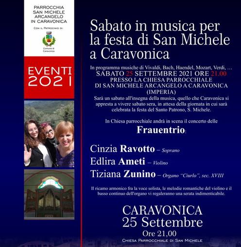 Caravonica: domani sera un sabato musicale al femminile alla chiesa di San Michele con il 'Frauentrio'