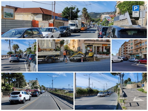 Sanremo: si rompe un tubo alla Foce, code che arrivano quasi a Bordighera e automobilisti inviperiti (Foto e Video)
