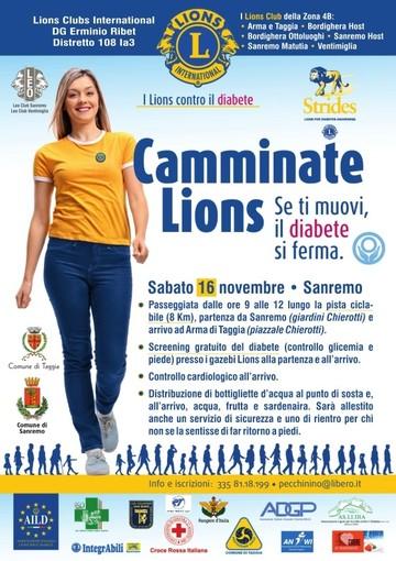 Lotta al diabete: con i Lions una camminata da Sanremo ad Arma di Taggia e screening medici
