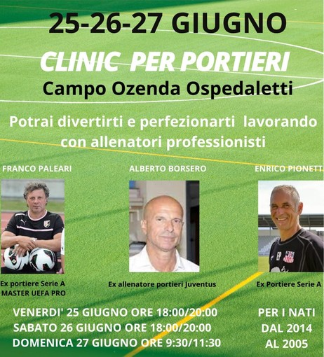 Calcio. Al campo 'Ozenda' di Ospedaletti tre giorni dedicati ai giovani portieri con tre allenatori professionisti