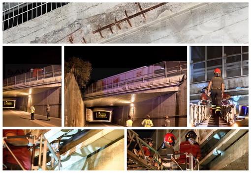 Sanremo: come a Imperia, cadono calcinacci dal viadotto autostradale in via Ariosto. Sul posto i vigili del fuoco (Foto)
