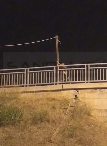Taggia: cavo della corrente abusivo a 'penzoloni' sulla strada della stazione, rimosso stanotte dai Vigili del Fuoco (Foto)