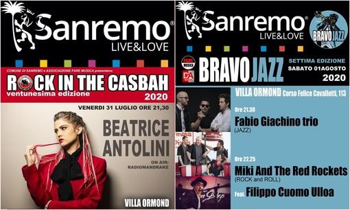 Sanremo: Bravo Jazz e Rock in the Casbah non si fermano, due serate a Villa Ormond con Fabio Giachino trio, Miki & the Red Rockets e Beatrice Antolini