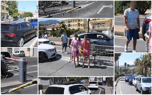 Sanremo: non riesce a pagare il parcheggio di via Calvino e sfonda la sbarra, altri automobilisti lo seguono (Foto)