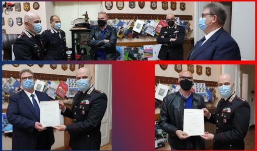 Imperia: congedati due Carabinieri salutati dal Colonnello Mommo, vanno in pensione dopo 35 anni di servizio