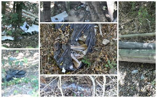 Sanremo: che maleducazione! Degrado e abbandono di immondizia di ogni genere a Pian della Castagna (Foto)