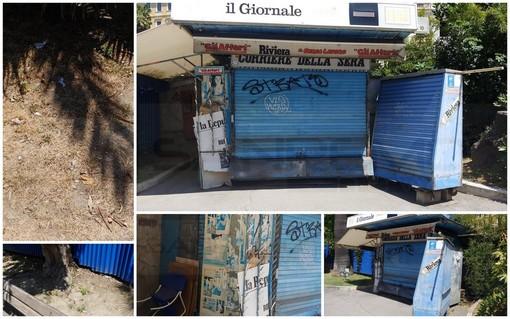 Sanremo: edicola chiusa da un anno e mezzo e ora nel degrado, il Comune sta lavorando per rimuoverla (Foto)