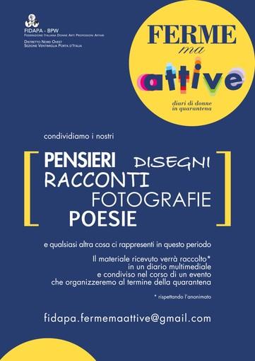 """Emergenza Coronavirus: la Fidapa Ventimiglia lancia l'iniziativa """"Ferme ma attive, diari di donne in quarantena"""""""