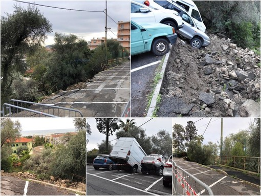 Sanremo: muro crollato in via Goethe, via al ripristino. Attenzione al divieto di sosta ed ai mezzi da lavoro in contromano
