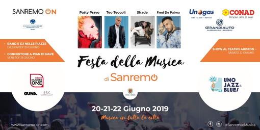 Dal 20 al 22 giugno prossimi a Sanremo la 'Festa della Musica': ben 16 i 'set' nel cuore della città