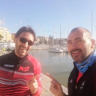 """Fabrizio Rossi e Federico Marchi durante la loro """"corsa-intervista"""""""
