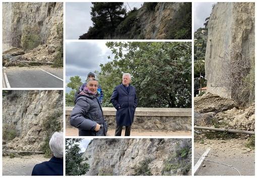 Ventimiglia: frana di ieri in corso Toscanini, rocciatori al lavoro ma preoccupa la messa in sicurezza (Foto e Video)