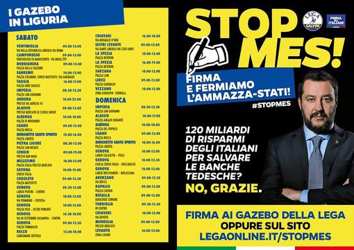 """""""Stop al MES"""": sabato e domenica la raccolta firme della Lega in 50 piazze della Liguria"""