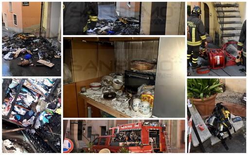 Sanremo: appartamento distrutto da un incendio nei vicoli di Coldirodi, un uomo miracolosamente illeso (Foto e Video)