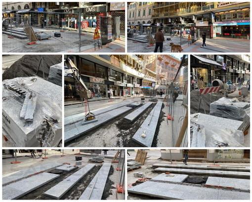 Il lavoro iniziato con la pavimentazione di via Matteotti