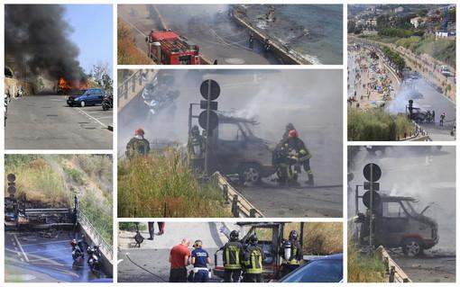 Sanremo: camper a fuoco sul lungomare dei 'Tre Ponti', intervento dei Vigili del Fuoco (Foto e Video)