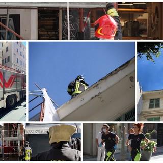 Incendio nel cuore di Sanremo: fumo e fiamme da un attico di via Matteotti (Foto e Video)