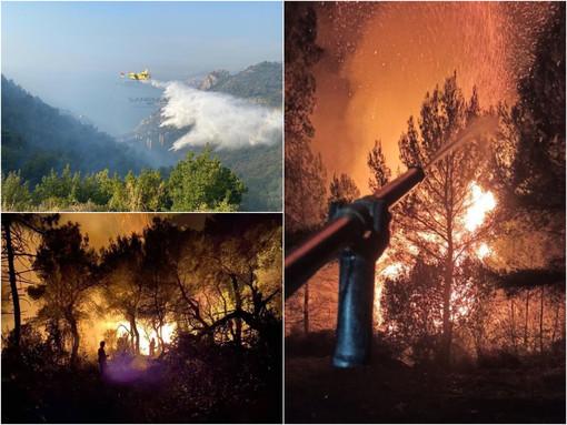 Ventimiglia: incendio a Grimaldi, al lavoro Vigili del Fuoco da tutta la provincia e da Savona. In volo elicottero e canadair (Foto e Video)