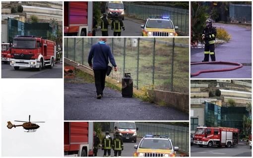 Arma di Taggia: principio di incendio all'interno di un'azienda, 50enne di origine olandese ustionato (Foto e Video)