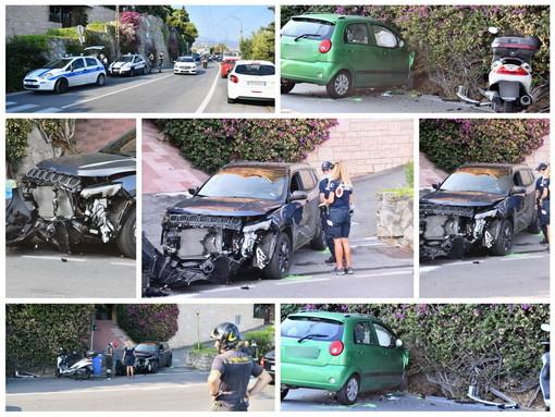 Sanremo: scontro tra due auto in corso Marconi, una donna lievemente ferita ma gravi danni ai mezzi (Foto)
