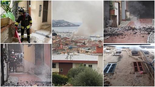Sanremo: incendio nel cuore della 'Pigna', una nube di fumo denso si alza sopra la città (foto e video)
