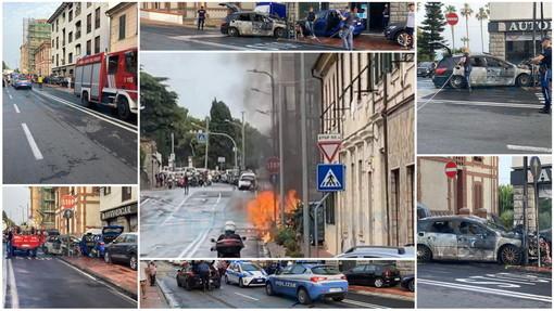 Imperia: auto prende fuoco improvvisamente in via Serrati, famiglia salva per miracolo (Foto)
