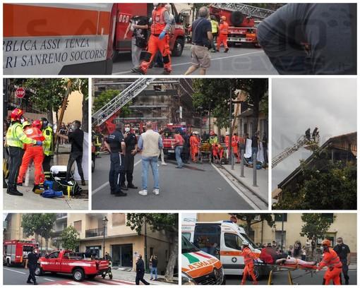 Taggia: incendio in un appartamento di piazza Spinola, ci sono 9 intossicati di cui uno in gravi condizioni (Foto e Video)