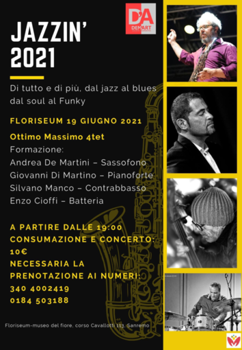 Sanremo: sabato al Floriseum di villa Ormond primo appuntamento con Jazzin' 2021
