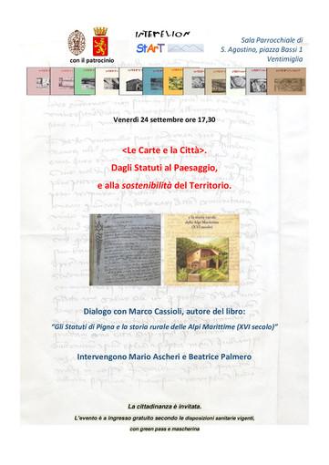 """Ventimiglia: venerdì l'incontro """"Le carte e la città, dagli statuti alla tutela del paesaggio e alla sostenibilità del territorio"""""""