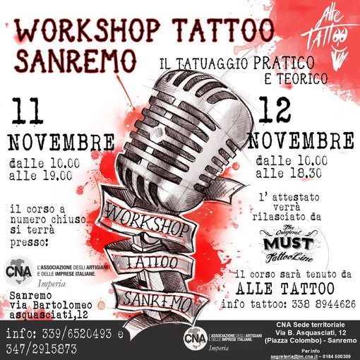 Alla CNA di Sanremo l'11 e 12 novembre, Workshop con Alle Tattoo, l'uomo dei tatuaggi record