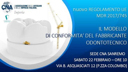 Sabato prossimo a Sanremo seminario di approfondimento sul nuovo regolamento per gli odontotecnici