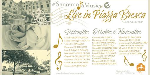 """Sanremo: prosegue la musica con """"Live in piazza Bresca"""", fino a novembre quattro live alla settimana"""