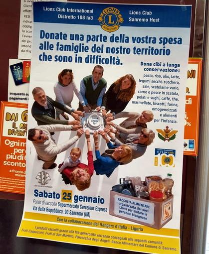 Sanremo: domani in due supermercati del centro città la raccolta alimentare di sei Lions Club