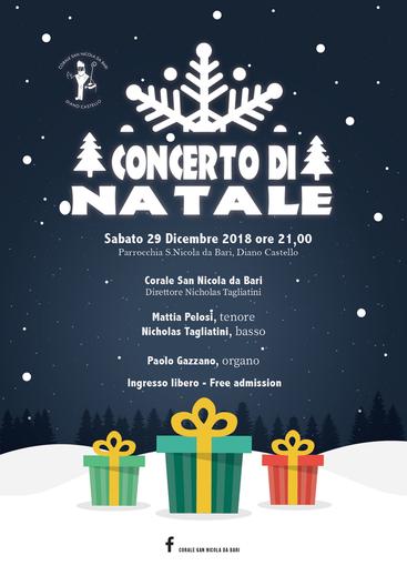 Diano Castello: domani, concerto di Natale con la Corale San Nicola da Bari di Diano Castello, il tenore Mattia Pelosi ed il basso Nicholas Tagliatini